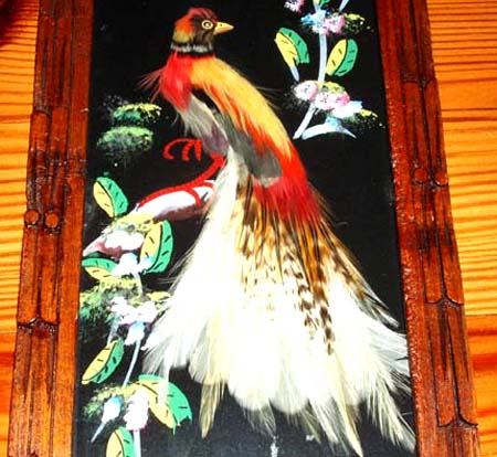 Vintage Framed Mexican Feather Art Of Birds Collectics