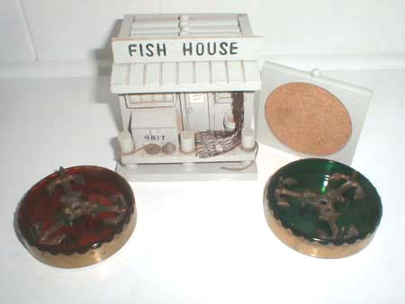 Fish house wooden coaster set collectics antiques and for Aaa fish house